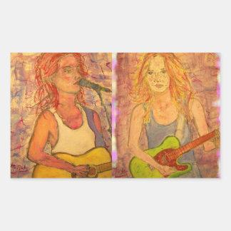 Guitar Girls Rectangle Stickers