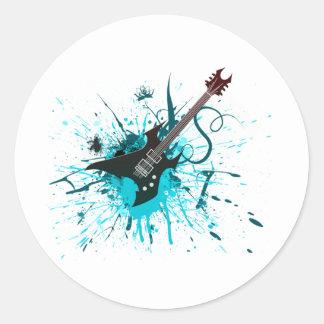 Guitar Graffiti - Emo Rock Music Band Alternative Round Sticker
