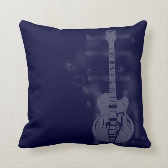 Guitar Graphic Blue Pillows