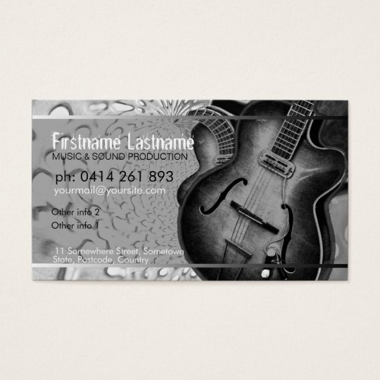 GUITAR Grey Black Music Business card