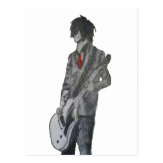 Guitar Guy Pencil Art Postcard