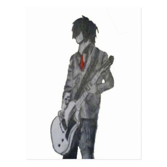 Guitar Guy Pencil Art Postcard