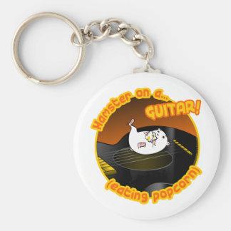 Guitar Hamster Basic Round Button Key Ring
