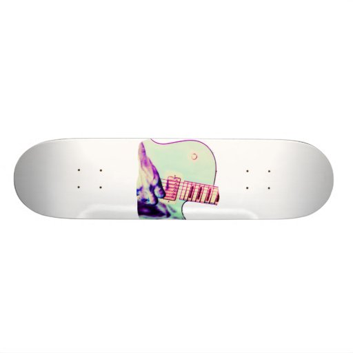 Guitar Hand Psychadelic Green Purple Pink Skateboard Deck