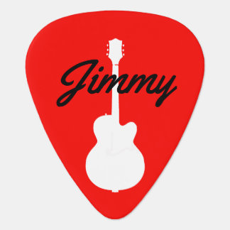 guitar handwritten font-style name red guitar pick