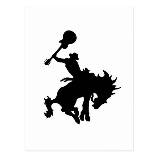 Guitar Hero rodeo cowboy on horseback Post Cards