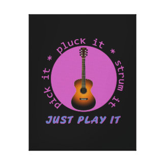 Guitar - Just Play It - Black background Stretched Canvas Prints