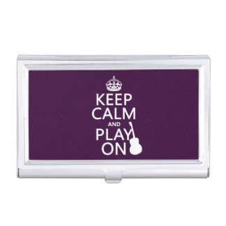 Guitar - Keep Calm and Play On (every colour) Business Card Holder