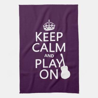 Guitar - Keep Calm and Play On (every colour) Tea Towel