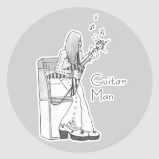 Guitar Man Round Sticker