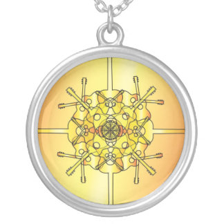 Guitar Mandala Silver Plated Necklace