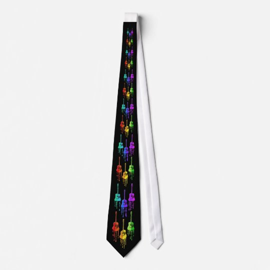 Guitar Melting into Rainbow Colours Tie