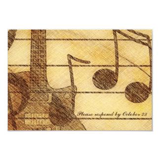 Guitar Music Cream Brown RSVP 9 Cm X 13 Cm Invitation Card