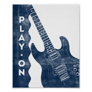 Guitar Music Poster Blue White Play On Art Print