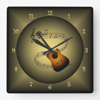 Guitar ~Musical Globe ~Musical Instrument ~Scale ~ Square Wall Clock