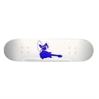 Guitar n amp stylized blue flat graphic skate boards