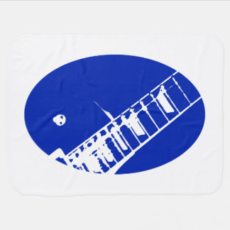 guitar neck stamp blue and white buggy blankets