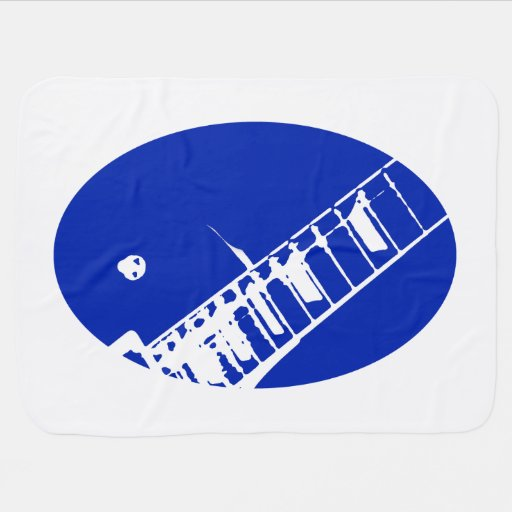 guitar neck stamp blue and white baby blanket