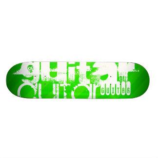 Guitar; Neon Green Stripes Skate Board