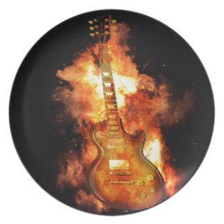 Guitar on fire dinner plate