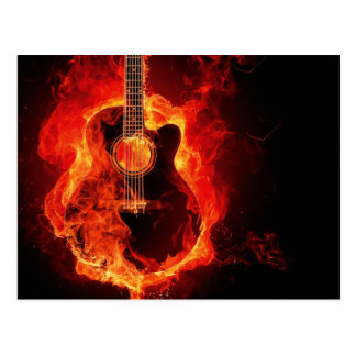 Guitar on Fire Postcard