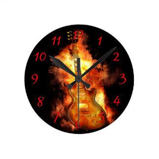 Guitar on fire round clock