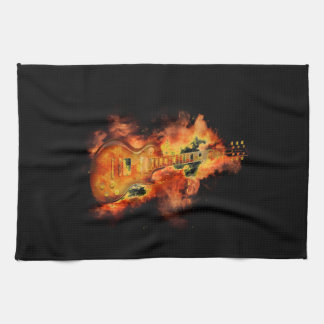 Guitar on fire tea towel