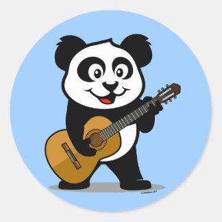 Guitar Panda Round Sticker