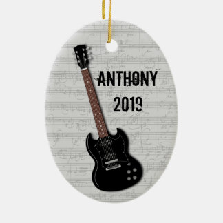 Guitar Photo Template on Back Christmas Ornament