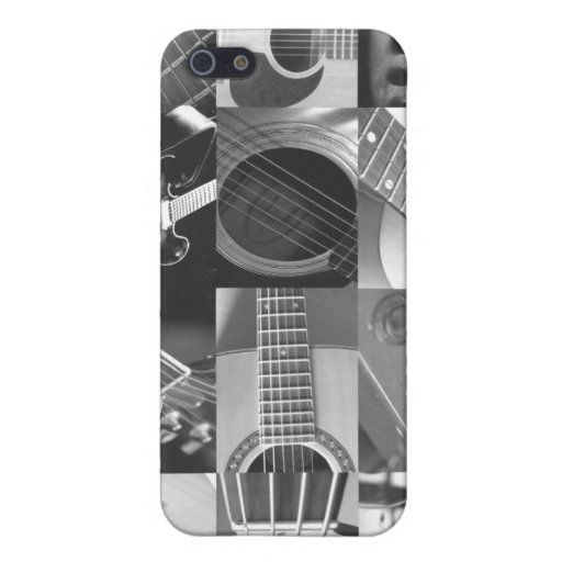 Guitar Photography Collage - black and white Cover For iPhone 5