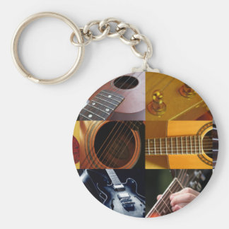 Guitar Photos Collage Basic Round Button Key Ring