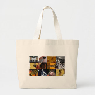 Guitar Photos Collage Large Tote Bag