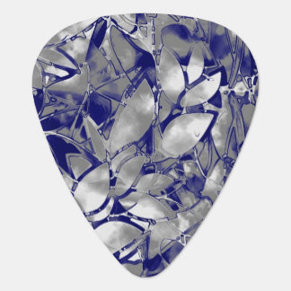 Guitar Pick Grunge Art Silver Floral Abstract