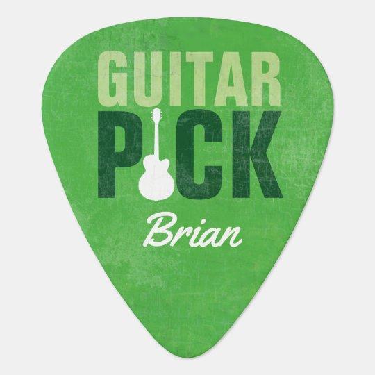 guitar-pick, to add name, green plectrum