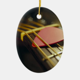 Guitar Pick Tucked in Strings Christmas Ornament