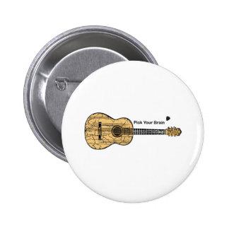 Guitar: Pick Your Brain 6 Cm Round Badge
