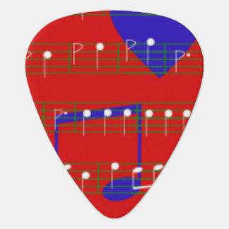 Guitar Picks - Red Music Notes Design - Music Guitar Pick
