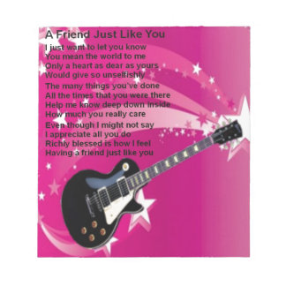 Guitar - Pink  Friend Poem Notepad