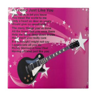 Guitar - Pink  Friend Poem Small Square Tile
