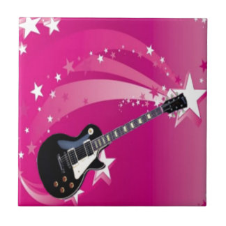 Guitar Pink Small Square Tile