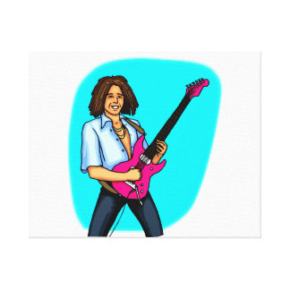 Guitar player, dark skinned, playing electric canvas prints