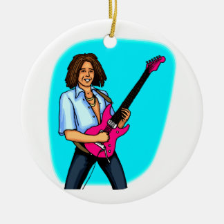 Guitar player, dark skinned, playing electric Double-Sided ceramic round christmas ornament