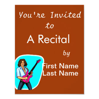 Guitar player, dark skinned, playing electric personalized invite
