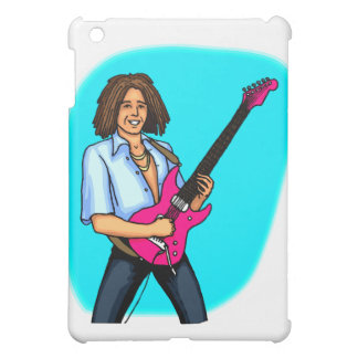 Guitar player, dark skinned, playing electric cover for the iPad mini
