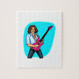 Guitar player, dark skinned, playing electric puzzles