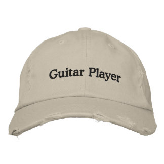 Guitar Player Distressed Cap Embroidered Hats