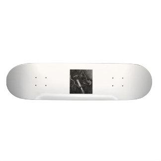 Guitar player drawing, white on black version 19.7 cm skateboard deck