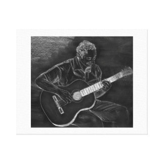 Guitar player drawing, white on black version canvas prints