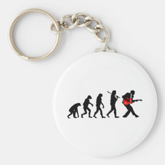 Guitar player evolution key ring