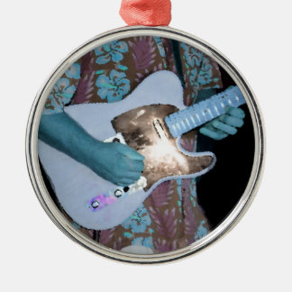 guitar player painting blue neat abstract musician christmas tree ornament